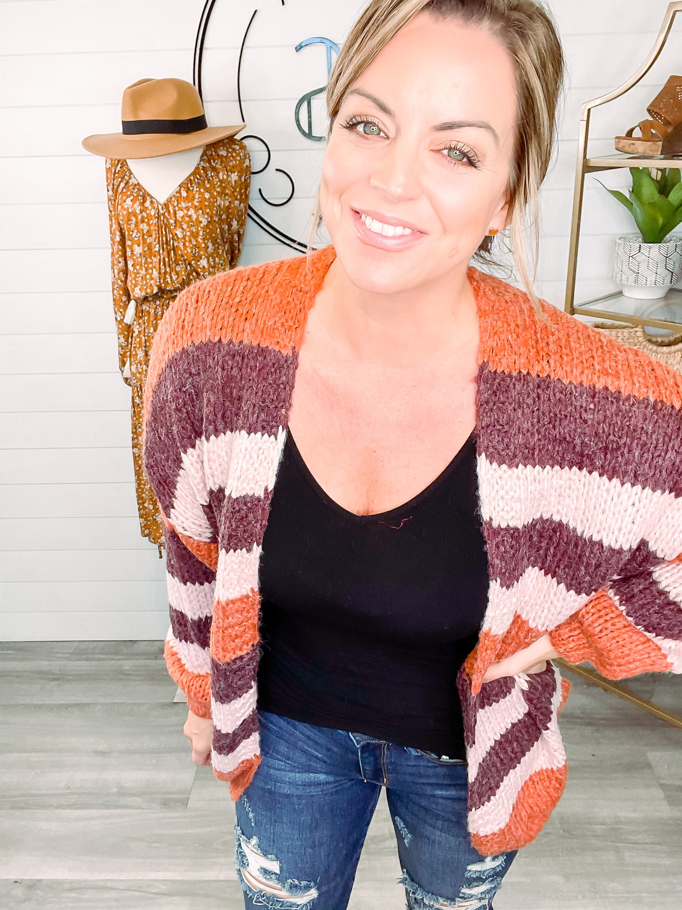 Casually Cool Striped Open Front Cardigan - Sedona