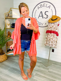 Into You Solid Lace Wide Sleeve Kimono - Salmon