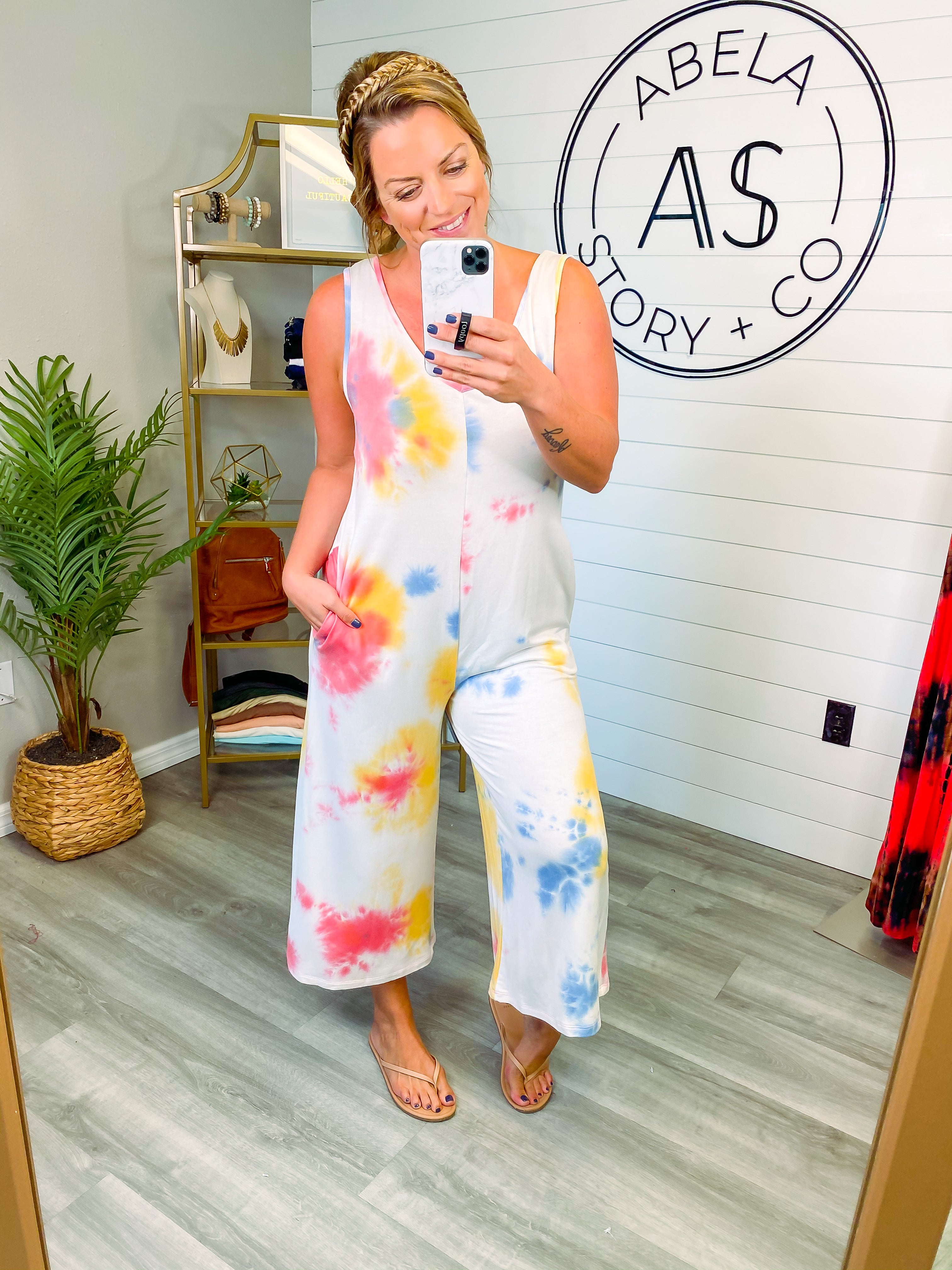Groove Thing Tie Dye Spaghetti Strap Jumpsuit - Pink/Blue