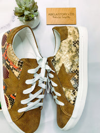 Coco Brown Snake Fashion Sneakers