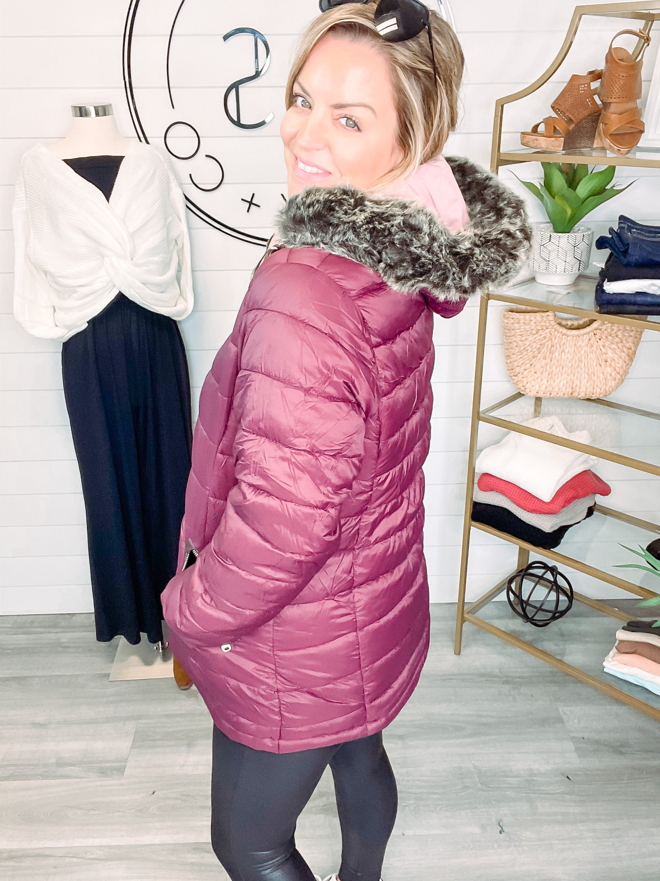 Shine From the Inside Reversible Jacket (Plus) - Rose