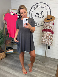 Anabella Short Sleeve Round Neck Dress - Charcoal
