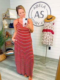 All the Stops Striped Spaghetti Strap Maxi - DK Rust/Ivory