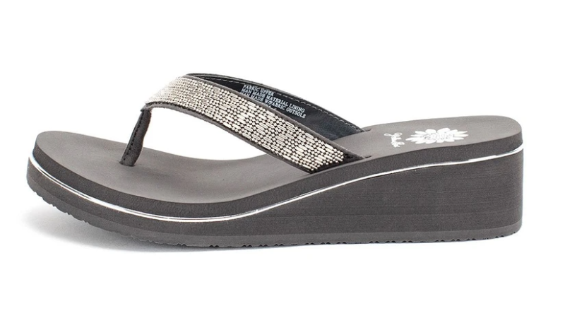 Sledge Studded Thong Wedges - Grey *Final Sale*