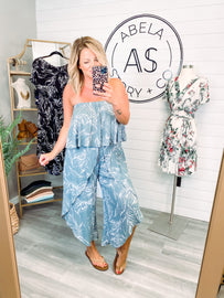 Shine on Me Ruffled Tube Top Jumpsuit - Sage