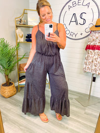 Above All Two Tone Wide Leg Jumpsuit - Black