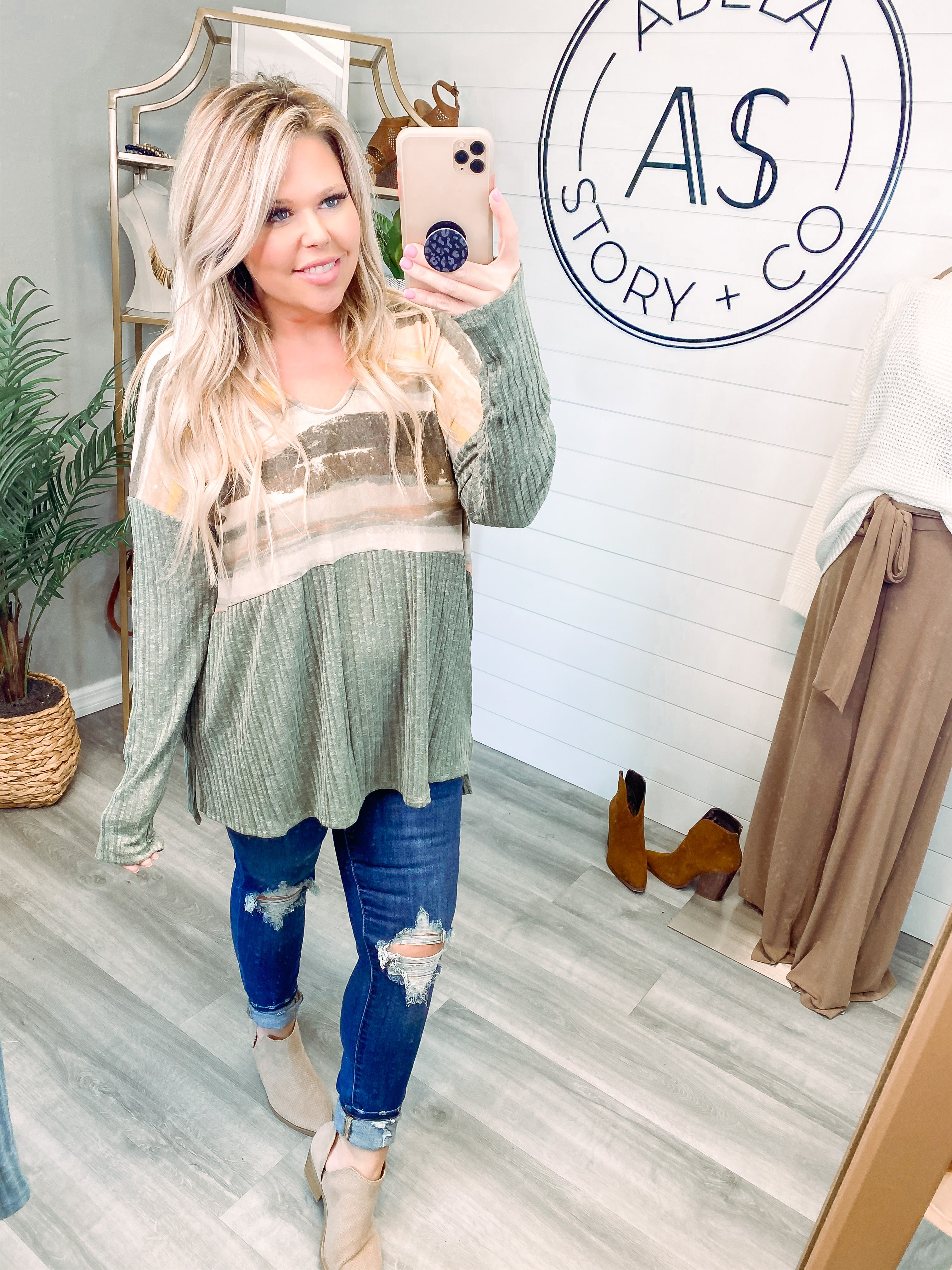 Just Brush it Off Color Block Top - Olive