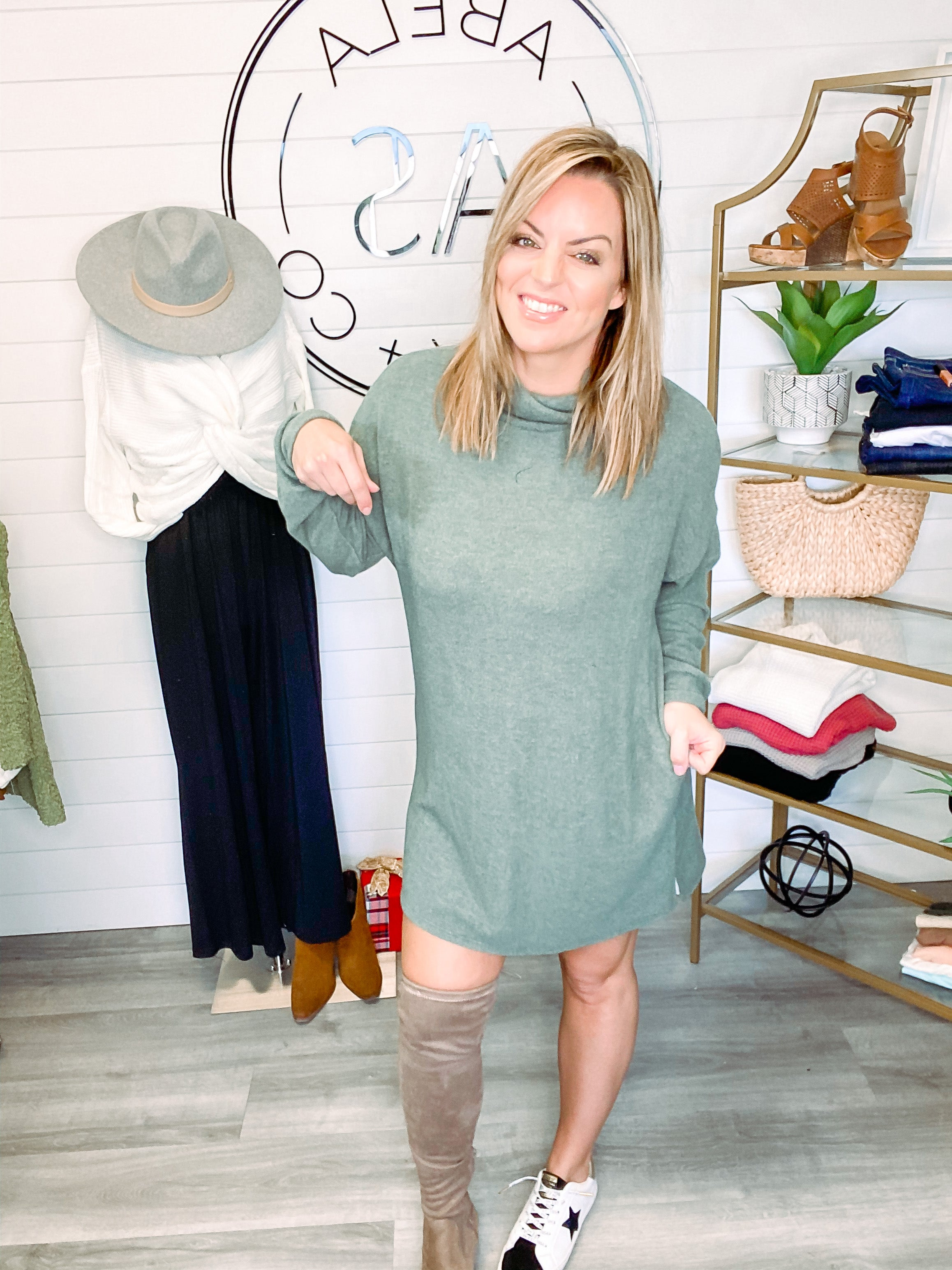 Hacci Turtleneck Dress - Olive (Plus + Reg)