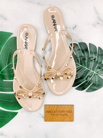 Bow and Behold Bowtie Sandals - Nude