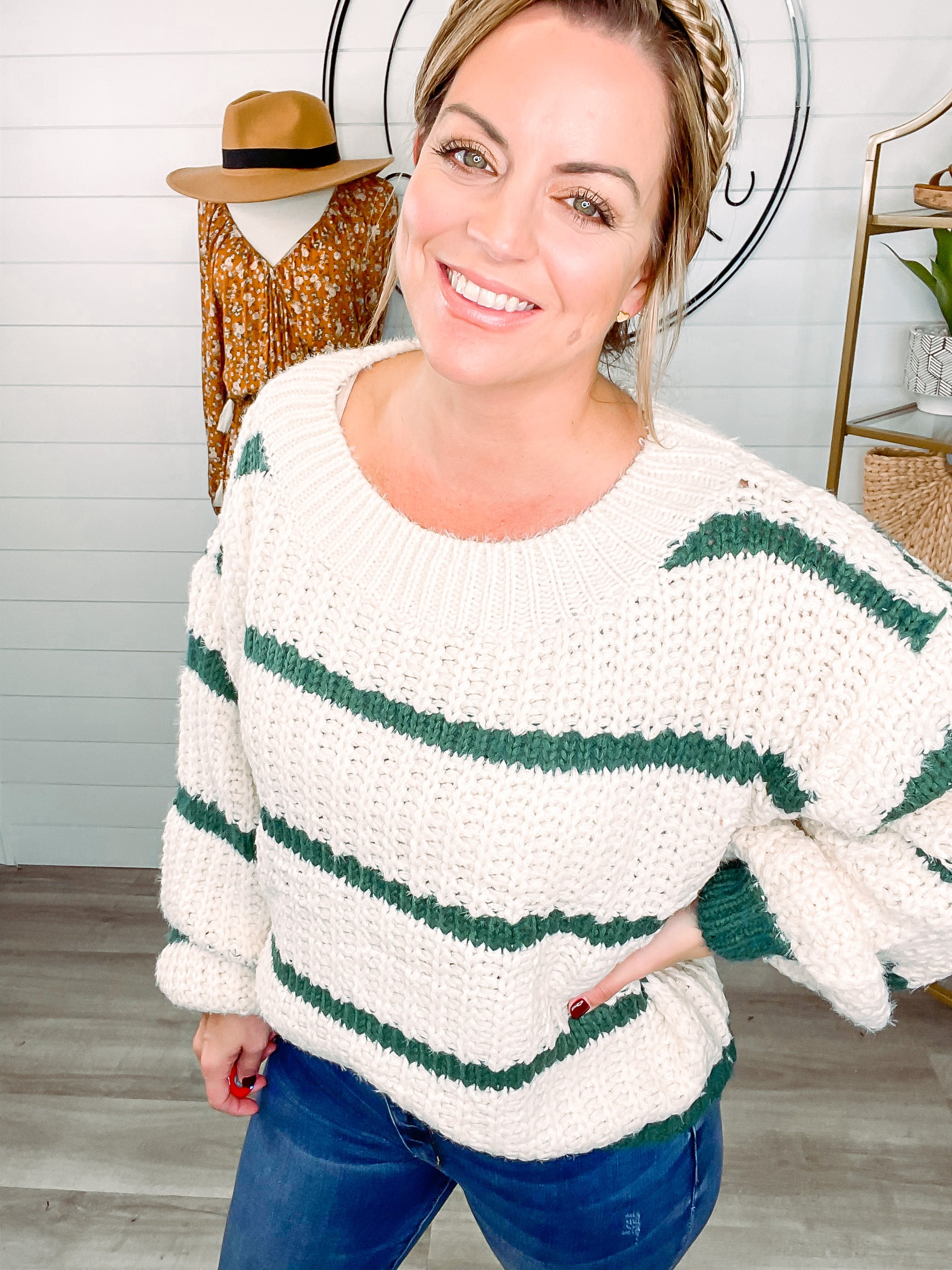 My Kind of Weather Striped Sweater Top - Ivory/Green *Final Sale*