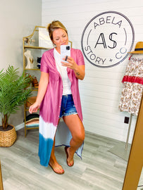 Run this Town Button Up Duster Cover Up - Purple