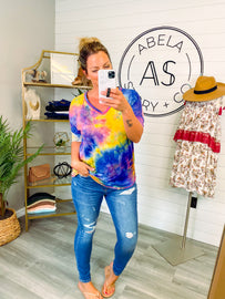 Just an Illusion Tie Dye V Neck Top
