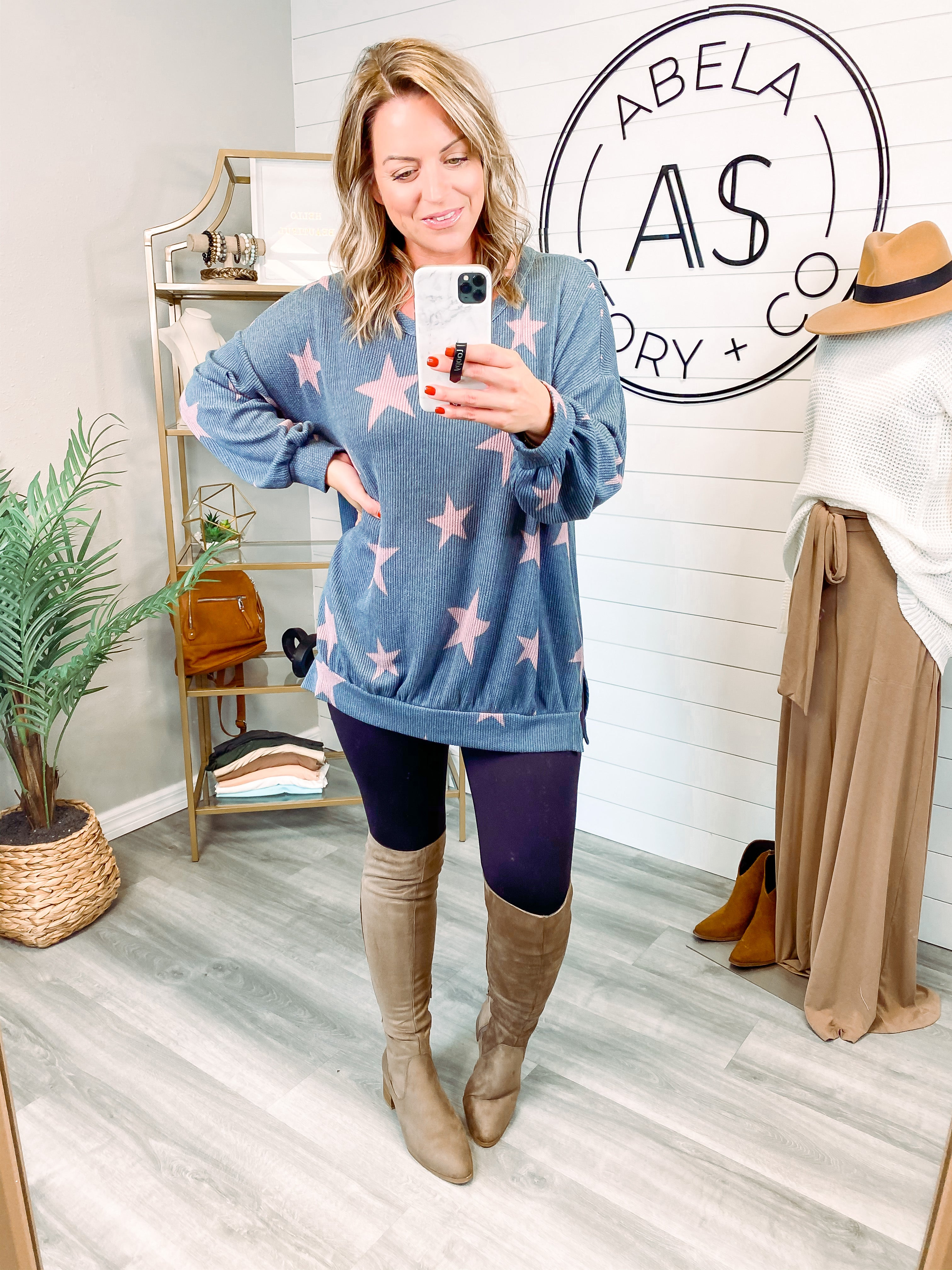 Star of Your Life Banded Hem Long Sleeve Top