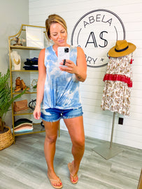Cloud Gazing Sleeveless Tie Dye Top