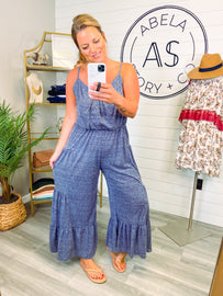 Above All Two Tone Wide Leg Jumpsuit - Navy