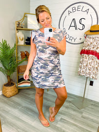 On Route to You Camo Short Sleeve Dress - Mauve