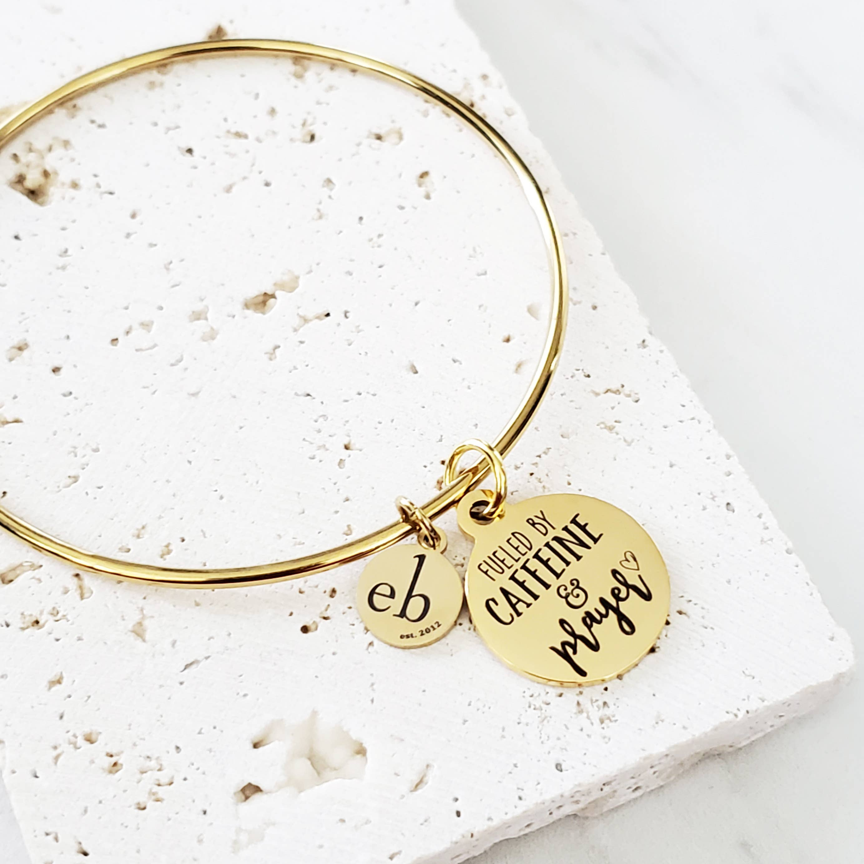Fueled By Caffeine Gold Charm Bangle