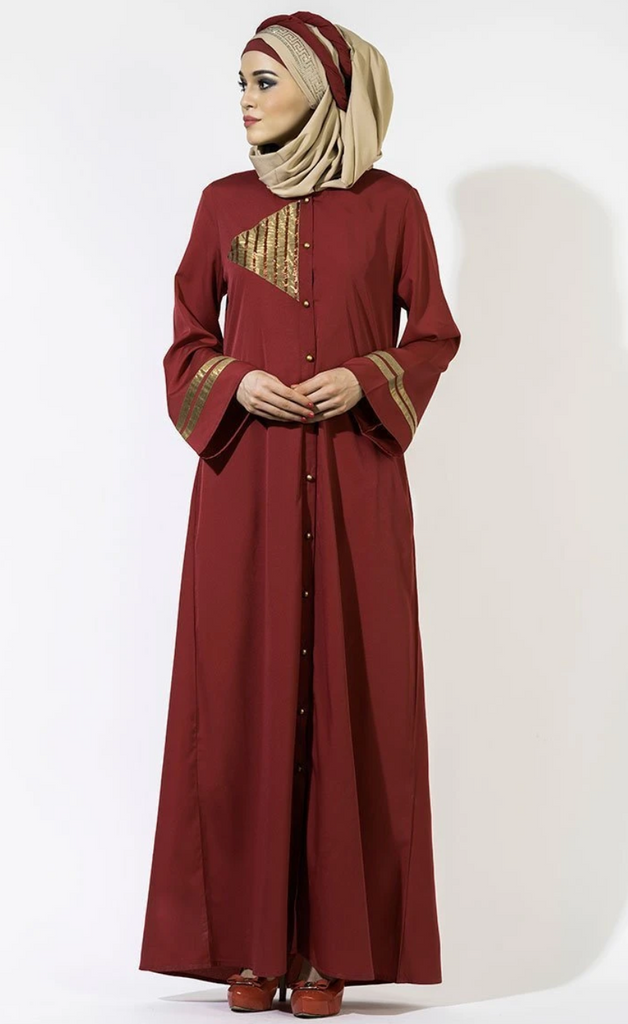 golden open button abaya for sale