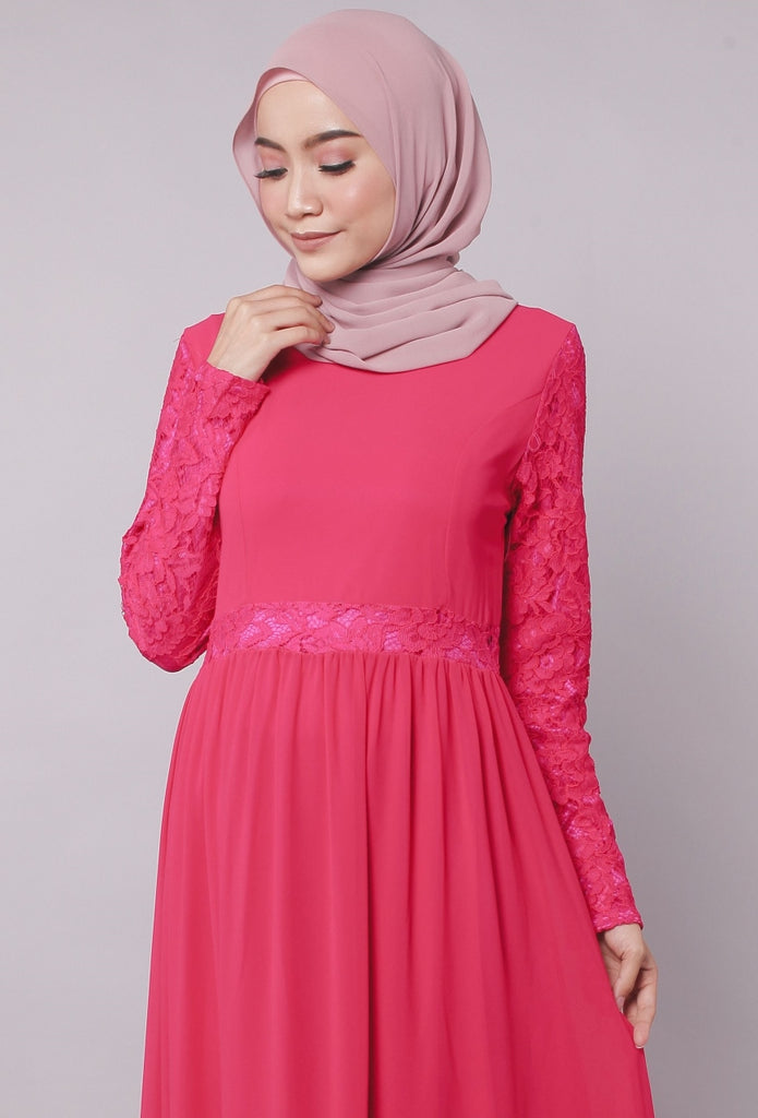 Dark Pink Princess Lace Abaya Dress