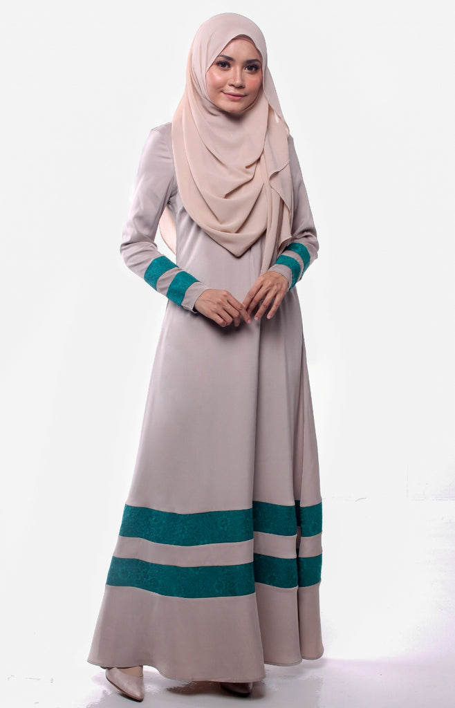 Joint Lace Satin Gray Khaki Abaya