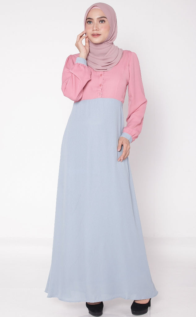 Pale Blue Joint Color Button Abaya