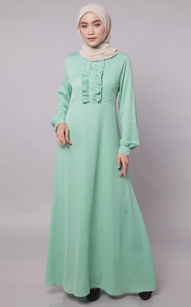 Ruffles Apple Green Abaya Dress