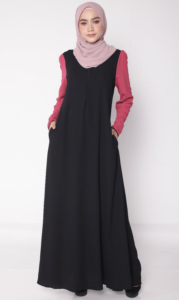 Black Joint Color Puffy Abaya