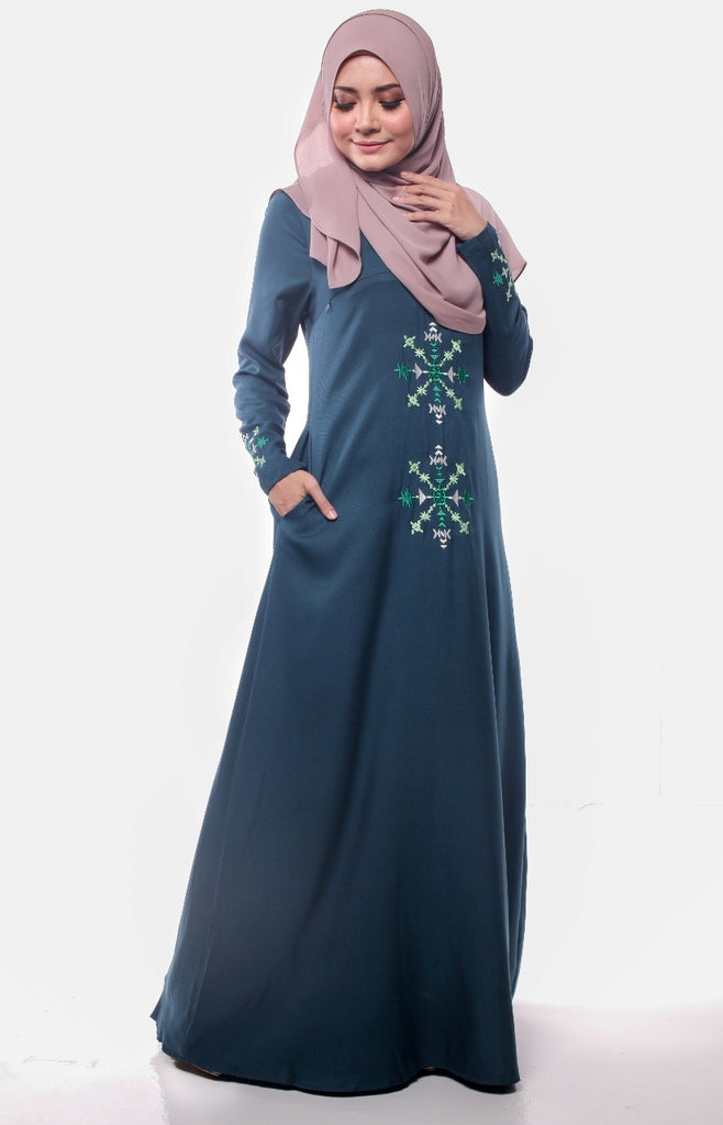 Teal Aztec Embroidered Abaya
