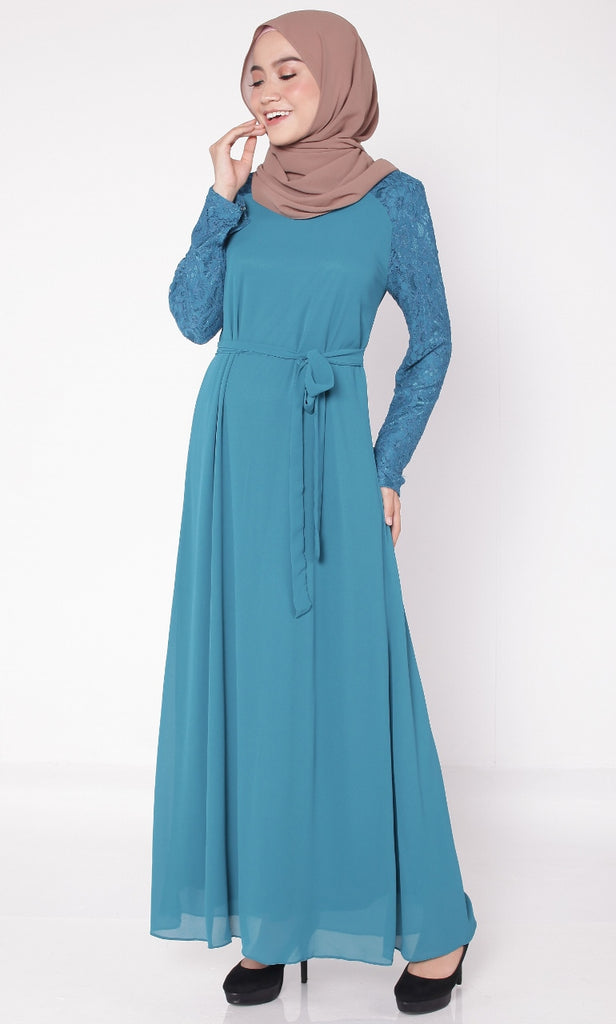 Dark Turquoise Lace Abaya With Belt