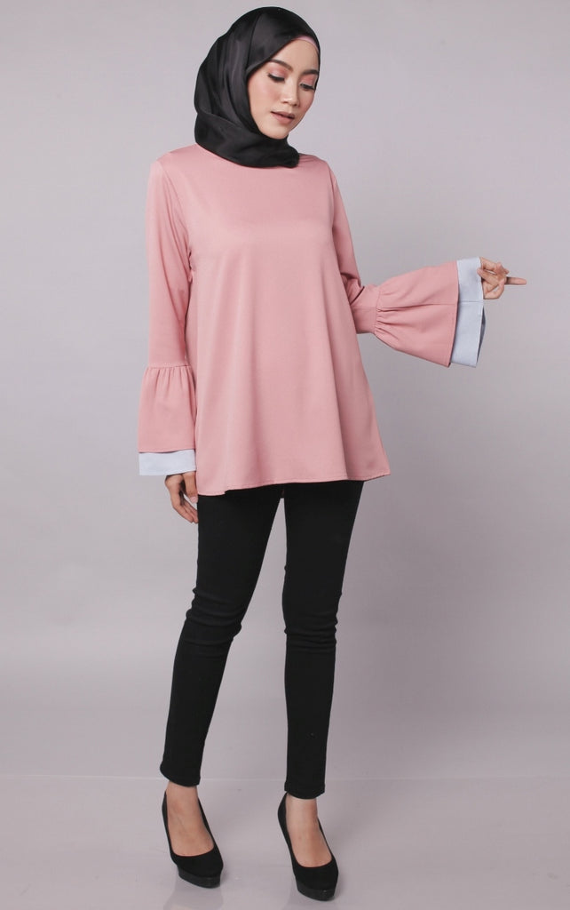 Nude Pink Joint Colour Trumpet Abaya