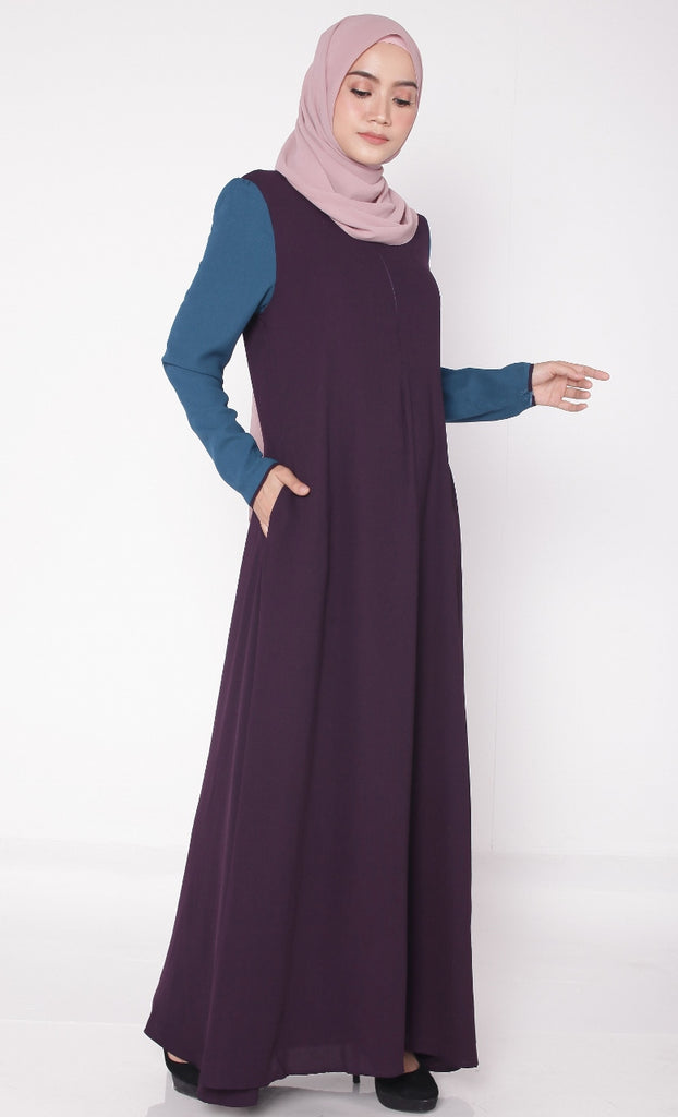 Purple Joint Color Puffy Abaya