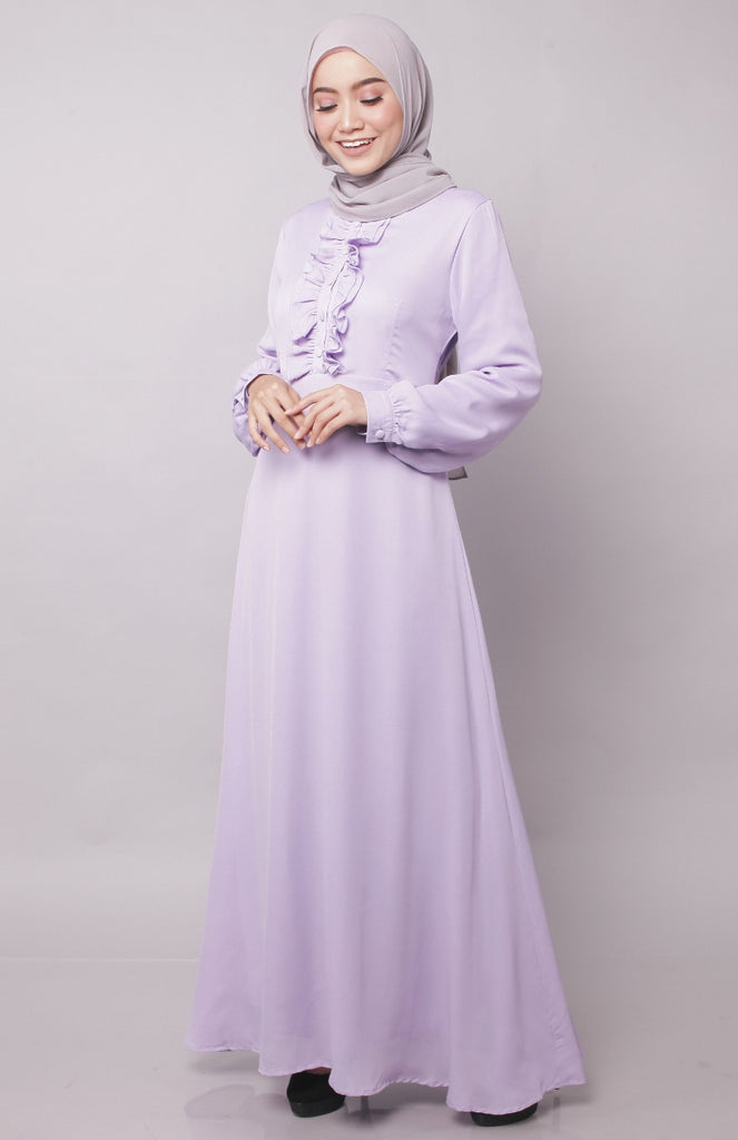 Ruffles Lilac Abaya Dress