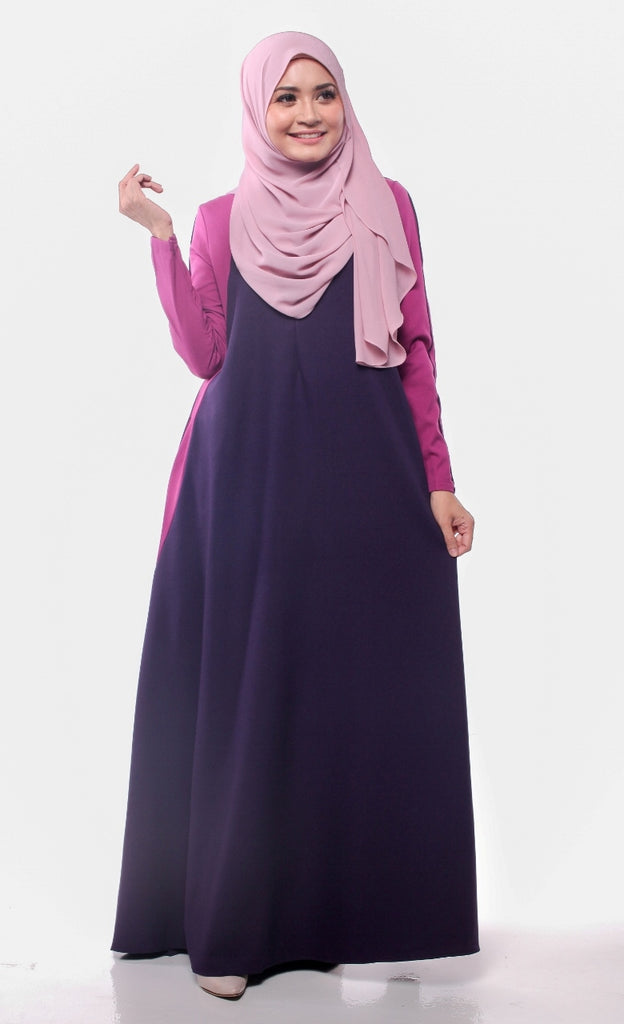 Trendy Joint Berry Purple Abaya