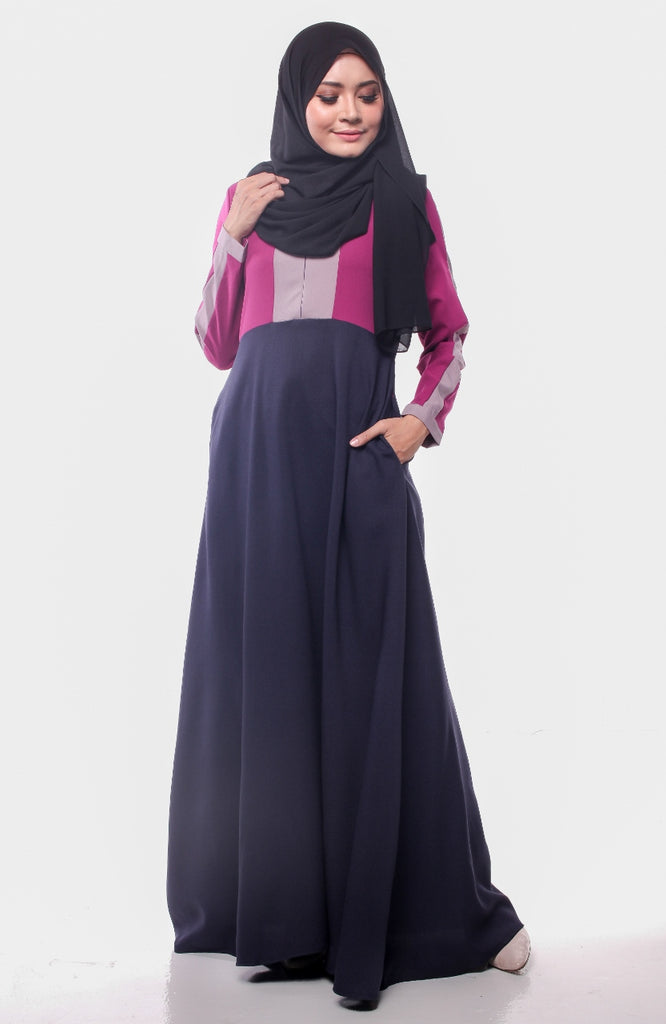 Dark Berry Trendy Joint Color Abaya