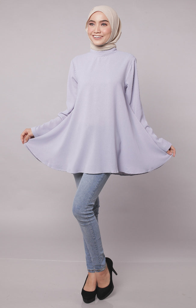 High Neck Flare Blouse