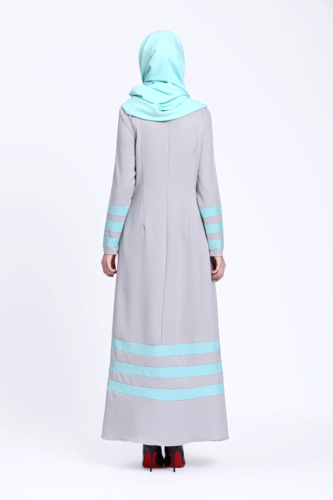 Stripe Light Gray Abaya
