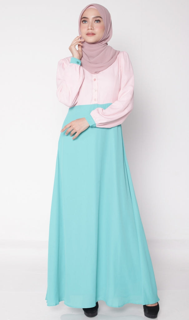 Greenish Turquoise Joint Color Button Abaya