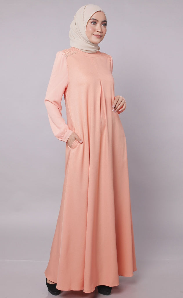 Peach Europe Design Abaya