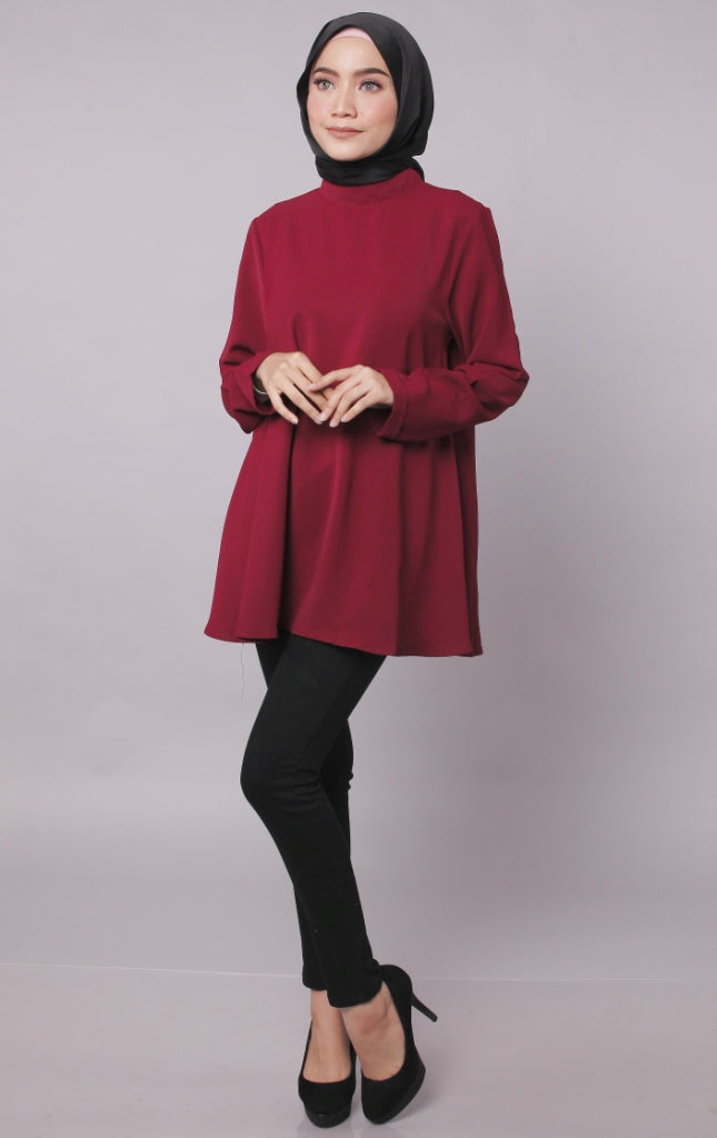 High Neck Flare Maroon Blouse
