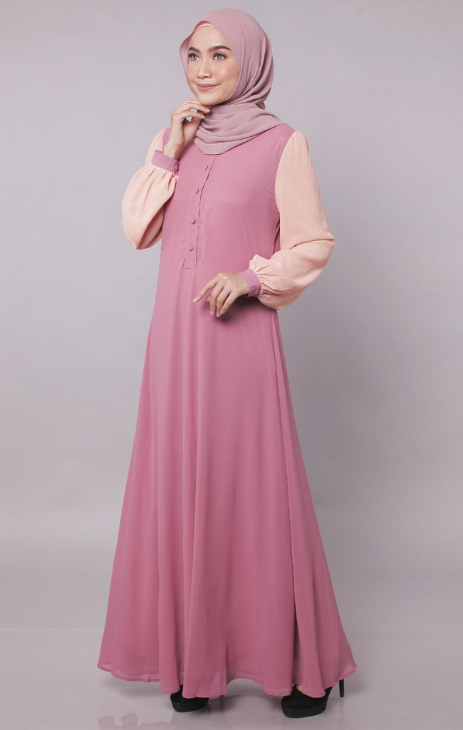Orchid Joint Color Button Abaya