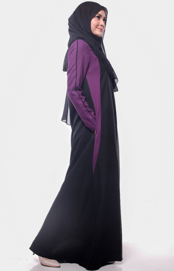 Trendy Joint Purple Maroon Abaya