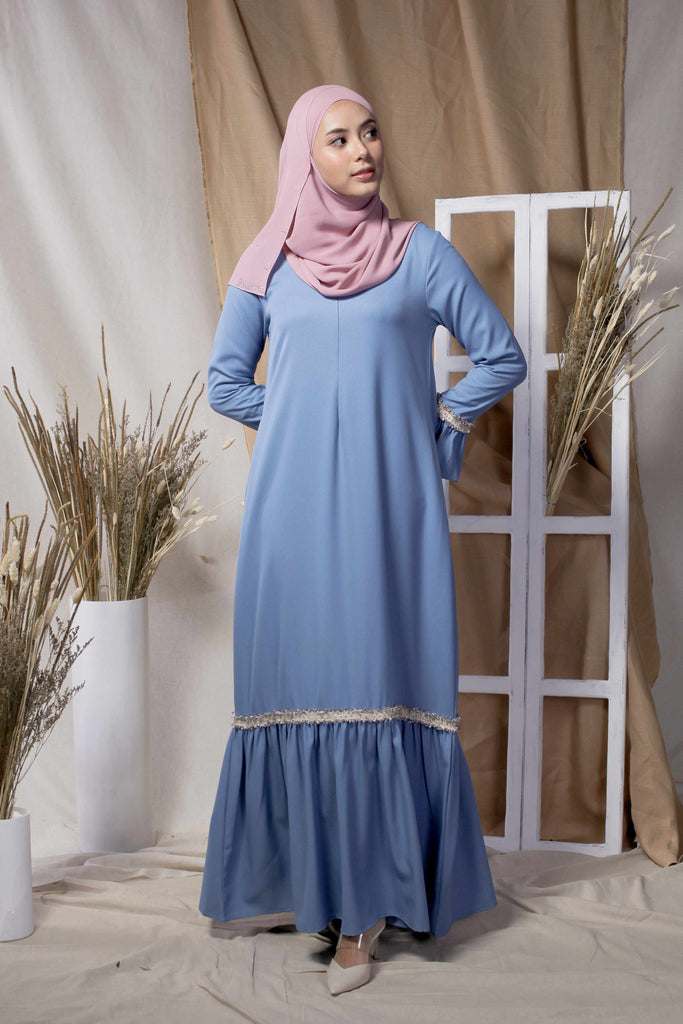 Blue Tweed Border Abaya
