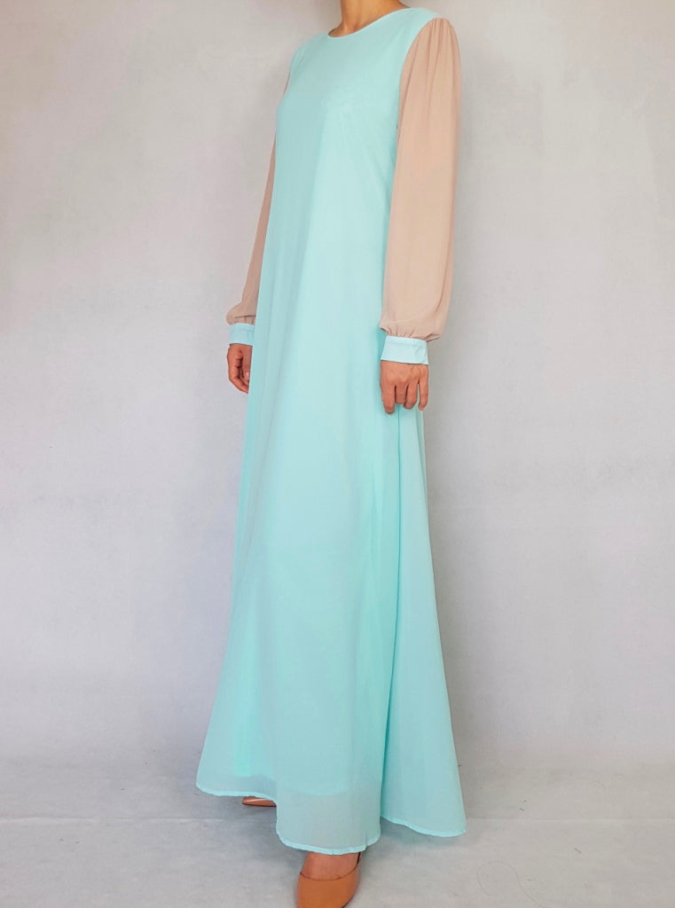 Mint Two Tone Abaya