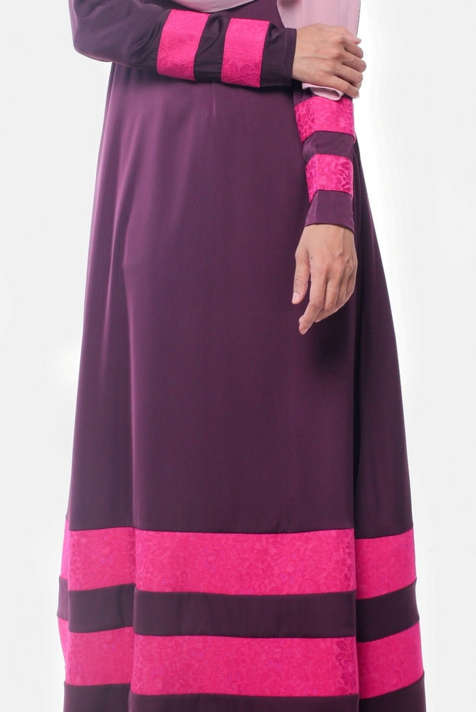 Joint Lace Satin Purple Abaya
