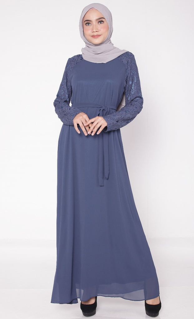 Vintage Navy Lace Abaya With Belt