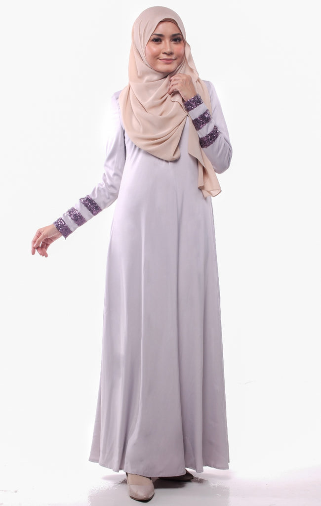 Sequins Stripe Light Gray Abaya