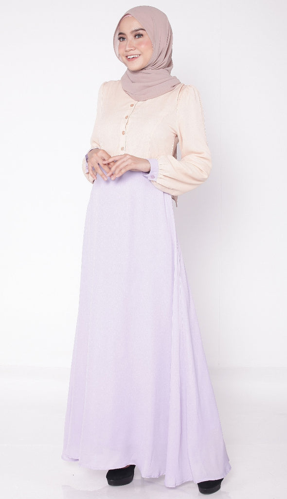 Joint Lilac Button Abaya