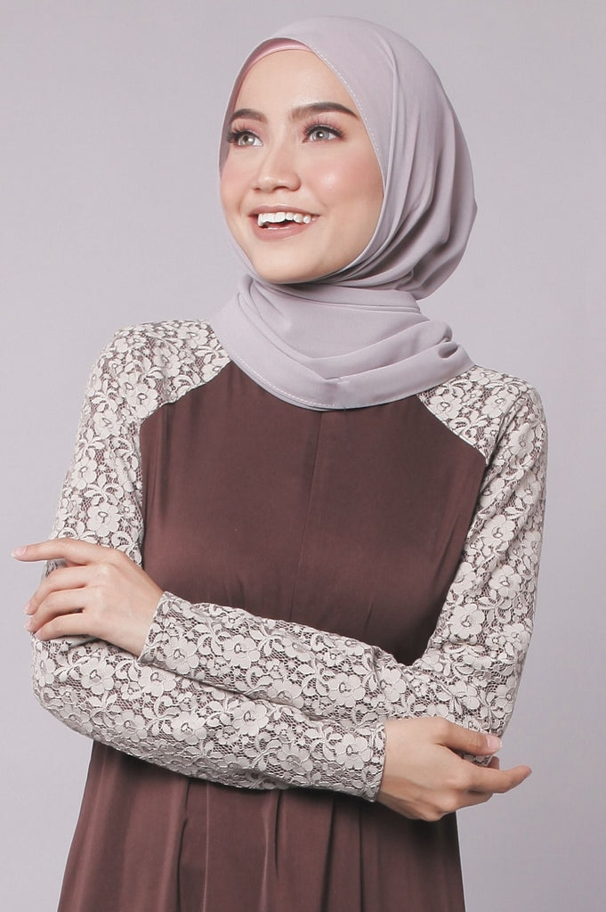 Dark Brown Premium Lace Abaya