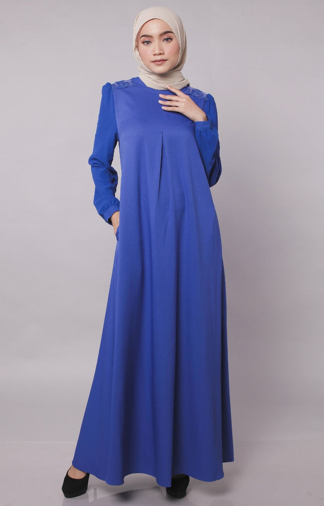 Electric Blue Europe Design Abaya