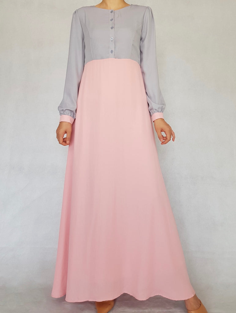 Pink Joint Color Button Abaya